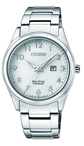 CITIZEN Damen Datum klassisch Solar Uhr mit Titan Armband EW2470-87A
