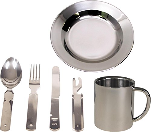 normani Camping Edelstahl Geschirrset Besteck + Teller + Tasse
