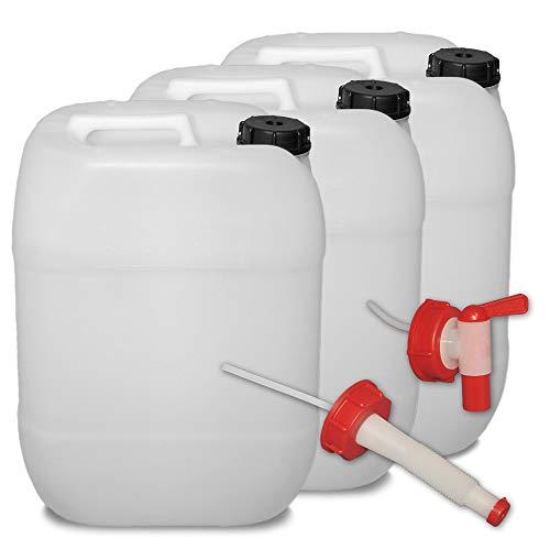 plasteo 3er Set: 20 Liter Getränke- Wasserkanister Natur mit Hahn, Schraubdeckel und...