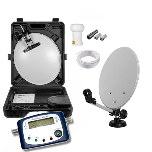 Max-X HD Mobile Camping Sat Anlage im Koffer 40cm Schüssel + Digital SATFINDER + LNB 0,1...