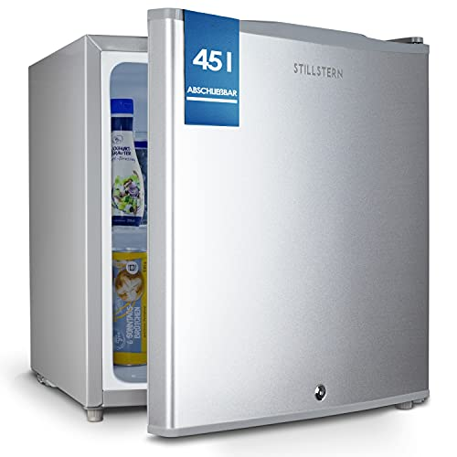 Stillstern Mini Kühlschrank E 45L mit Abtauautomatik, Schloss, Frostfach, Leise, Ideal...
