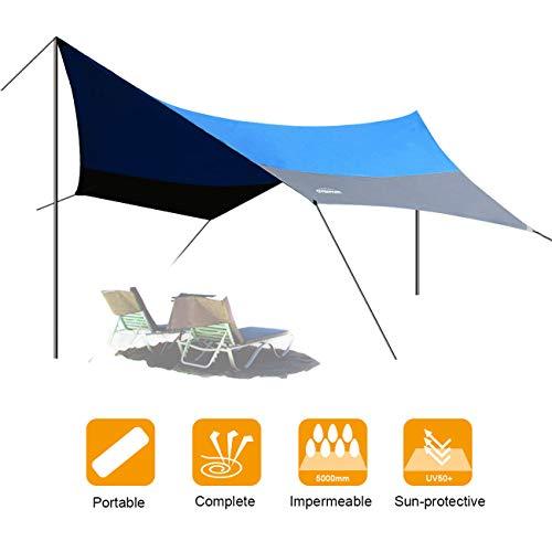 OVERMONT 5m x 5m Sonnensegel Camping Plane wasserdichte Zeltplane Sonnenschutz Sun Shelter...
