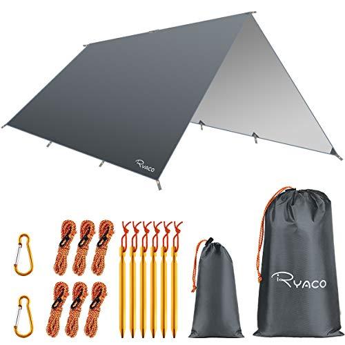 Ryaco Camping Zeltplane, 3m x 4mTarp für Hängematte, wasserdicht Leicht Kompakt...
