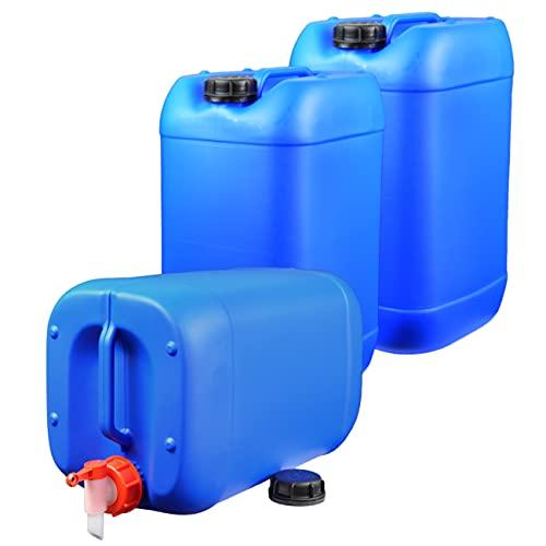 plasteo 3X 25 Liter Getränke- Wasserkanister mit 1 Hahn und 3 Schraubdeckel (DIN 61) |...