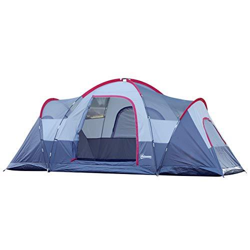 Outsunny Zelt für 5-6 Personen, Campingzelt mit Heringen, Tunnelzelt, Kuppelzelt,...