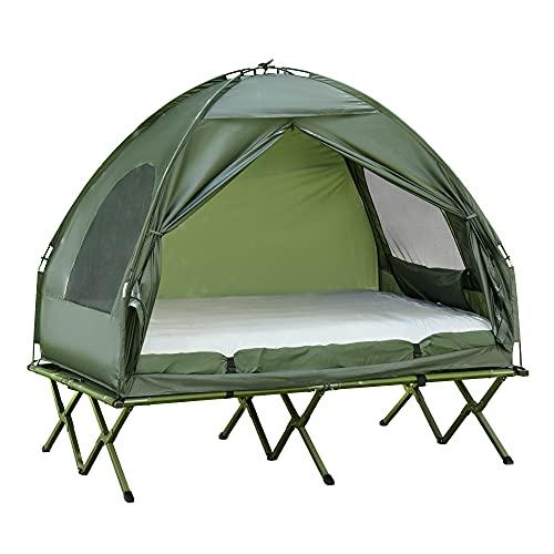 Outsunny Erhöhtes Campingbett und Zelt, Feldbett, Kuppelzelt mit Luftmatratze, inkl....