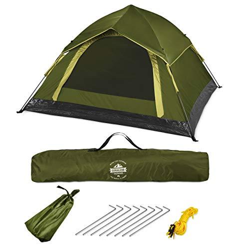Lumaland Outdoor leichtes Pop Up Wurfzelt 3 Personen Zelt Camping Festival etc. 210 x 190...
