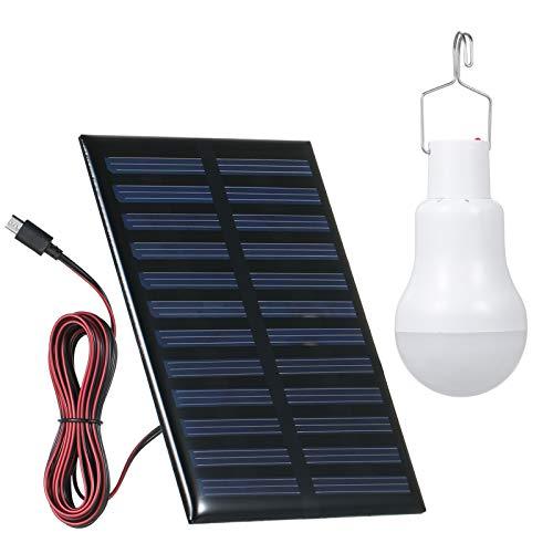 Lixada Solar Glühbirne, 1W Solarlampe LED Licht Tragbare Birne Solarlampen Lämpchen für...