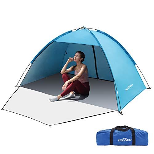 IREGRO Strandzelt, 3-4 Personen Strandmuschel, Tragbares Sonnenschutz Zelt, UV Schutz 50+,...
