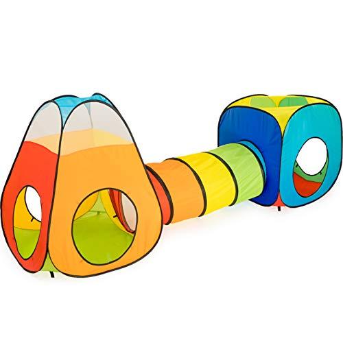 NUBUNI 3 in 1 : Spielzelt Kinderzelt : Babyzelt mit krabbeltunnel : Teiliges Bällebad :...