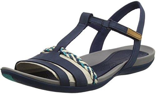 Clarks Damen Tealite Grace T-Spange Sandalen, Blau, 41 EU