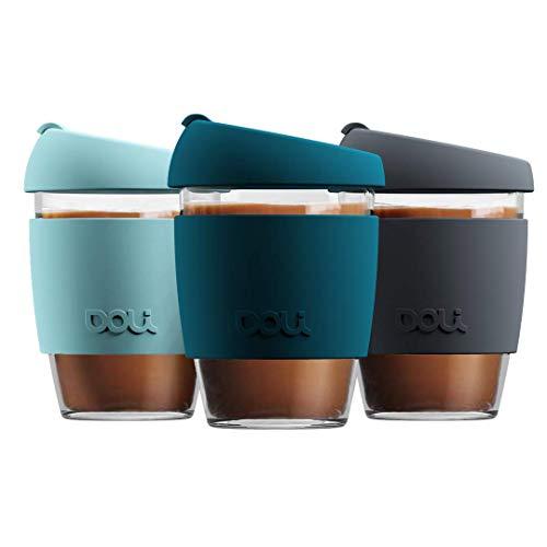 Doli Glas Kaffeebecher to go 340ml I spülmaschinengeeignet und dicht I Kaffee Tee...