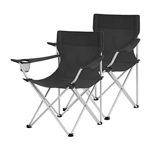 SONGMICS Campingstühle, 2er Set, Klappstühle, Outdoor-Stühle mit Armlehnen und...