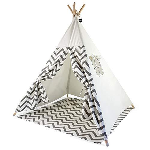 Hej Lønne Kinder Tipi, weißes Zelt mit grauen Zacken, ca. 120 x 120 x 150 cm groß,...