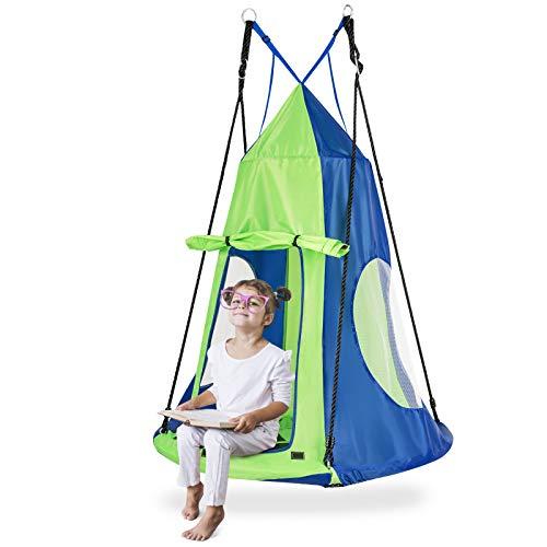GOPLUS 100 cm Nestschaukel mit Zelt, Rundes Hängezelt, Gartenschaukel mit bis zu 100 kg...