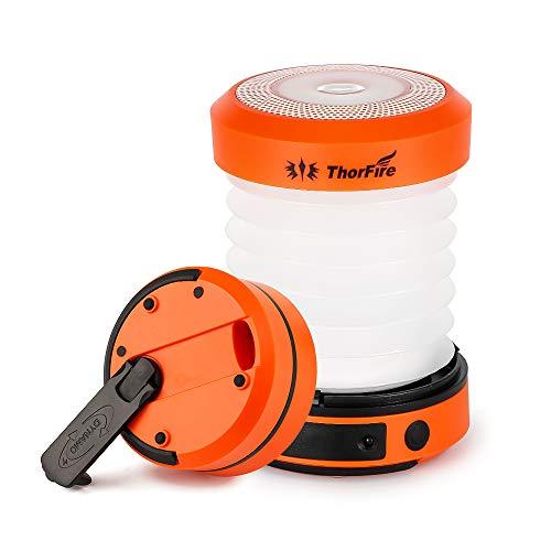 ThorFire Campinglampe LED Faltbare Laterne, Dynamo Tragbar Taschenlampe, Wiederaufladbar durch Kurbel und USB,...