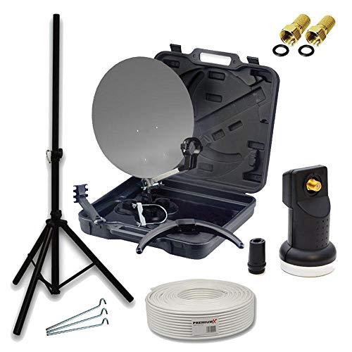 PremiumX HD Camping SAT Koffer Schüssel mit Digital Single LNB 0,1 dB inkl. Wetterschutz...