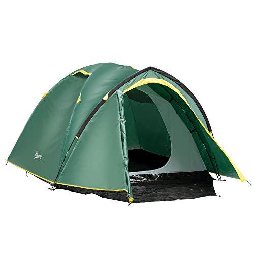 Outsunny Zelt für 3-4 Personen 190T Campingzelt mit Heringen Kuppelzelt Glasfaser...