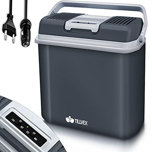 tillvex Kühlbox elektrisch 24L | Mini-Kühlschrank 230 V und 12 V für KFZ Auto Camping |...