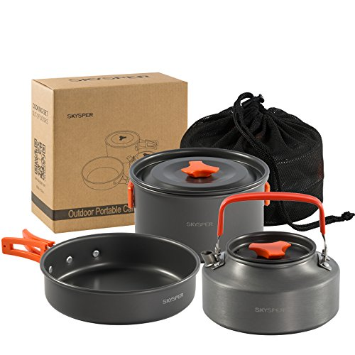 SKYSPER Camping Kochgeschirr Set 4-teiliges Outdoor Kochgeschirr Tragbar Camping Geschirr...