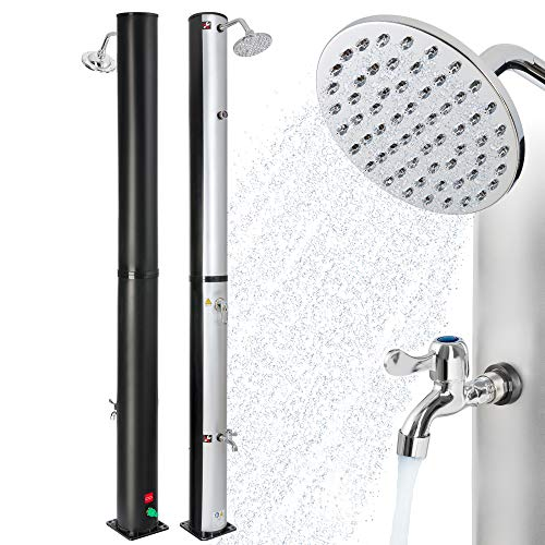 Arebos Solardusche | 40 Liter | 220 cm | mit integriertem Thermometer | Silber-Schwarz | runder Duschkopf |...