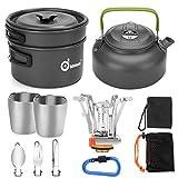 Odoland Camping Kochgeschirr Set 11-teiliges Outdoor Kochgeschirr mit Mini Gaskocher Tragbar Aluminium Topf...