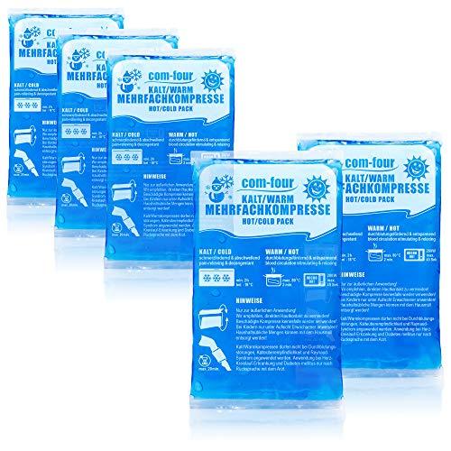 com-four® 5X Kleine Mehrfach-Kompresse, Kalt und Warm Kompressen, 16 x 9 cm - Mikrowellen geeignet (05 Stück...