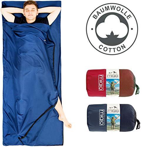Miqio® 2in1 Baumwoll-Hüttenschlafsack mit durchgängigem Reißverschluss (Koppelbar):...