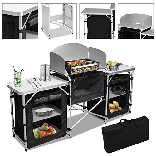 VINGO Campingküche | Campingschrank | Klappschrank | mit Aluminiumgestell | Reiseküche |...