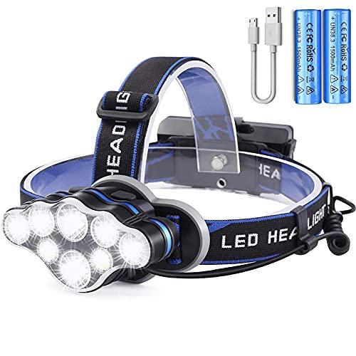 OUTAD USB Stirnlampe Wiederaufladbare LED Superheller Kopflampe Mit Rotem Blitzlicht 18000...