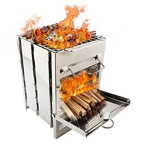 Zuoye Tragbarer Grill Campingkocher weniger Rauch, extra stabiler Edelstahl-Holzofen für...