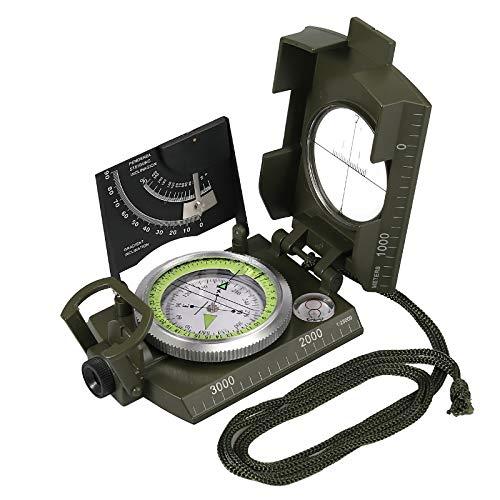 Proster Multifunktionale Kompass Wasserdichter Navigation Klinometer mit Fluoreszierende...