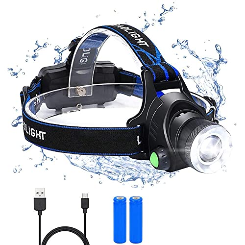 Flintronic LED Stirnlampe, 3 Modos Wiederaufladbar LED Kopflampe, 6000K 1200LM USB...