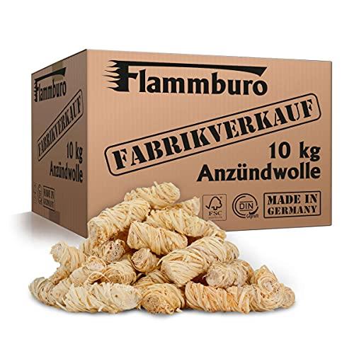 FLAMMBURO (10 kg) Öko-Anzündwolle direkt vom Hersteller, Holzwolle, zertifizierter...