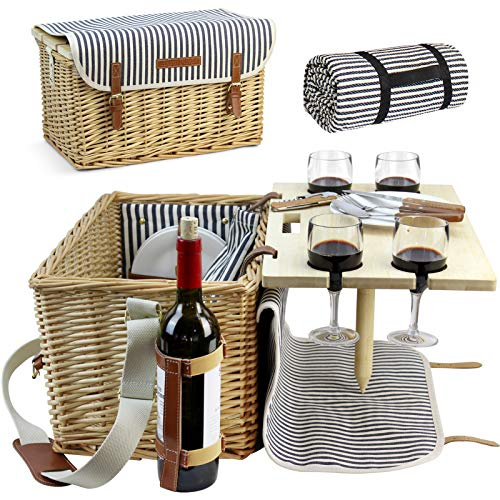 HappyPicnic Picknickkorb für 4 Personen, Picknick Set mit Tisch und Picknick Decke,...