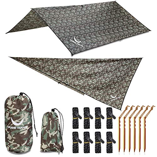 PURE HANG Premium Zeltplane Tarp 3x3 für Hängematte Outdoor Camping 100% Wasserdicht mit Ösen Sonnensegel...