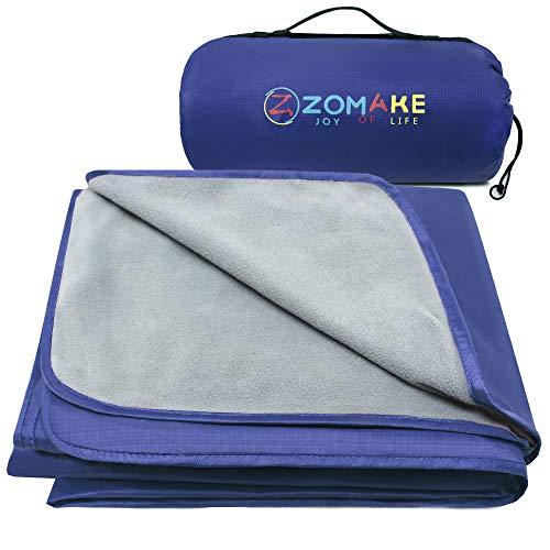 ZOMAKE Warme Fleece-Outdoor-Decke wasserdichte Leichte Campingdecke für das Winterpicknick (Hellgrau und...