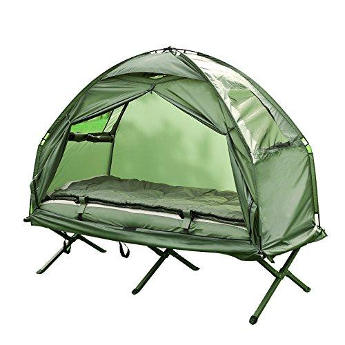 SoBuy® Feldbett 4in1-Zelt mit Campingliege Schlafsack Luftmatratze und Zubehör 1 Person OGS32-GR