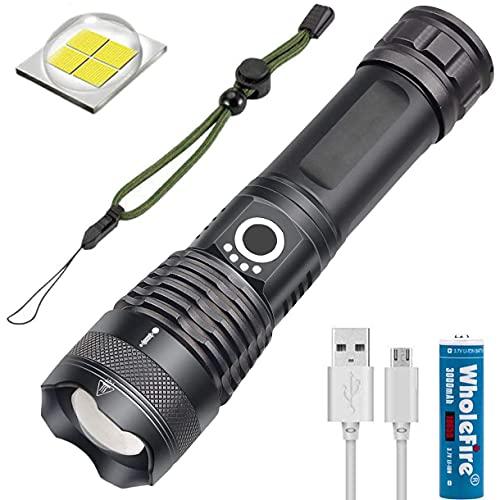 WholeFire XHP70 LED Taschenlampe Superhell 5000 Lumen, Wiederaufladbar per USB,...