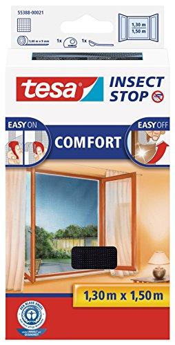 tesa Insect Stop COMFORT Fliegengitter für Fenster - Insektenschutz mit Klettband selbstklebend - Fliegen...