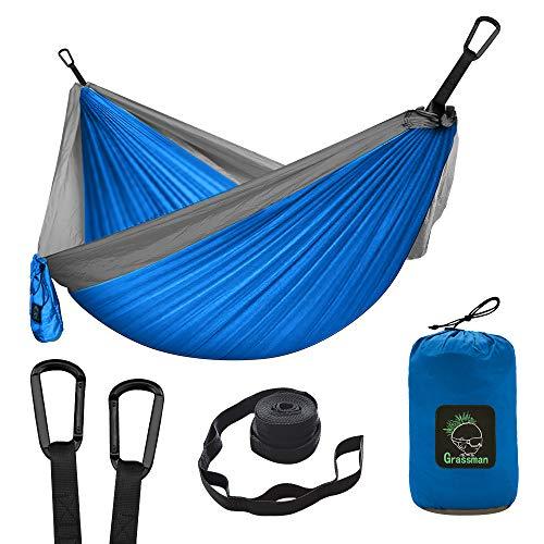 Camping Hängematte Doppel & Einzel tragbare Hängematte mit Baumgurten, leichte Nylon...