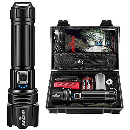 Shadowhawk Taschenlampe Led 10000 Lumen, Extrem Hell Taschenlampe USB Aufladbar Taktische...