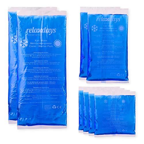Relaxdays Kühlpads Gel im 8er Set, Erste Hilfe, wiederverwendbar, 3 Größen, Kalt-Warm...