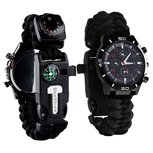 BlueStraw Überlebens-Armbanduhr, Männer & Frauen Notfall Überleben Uhr mit...