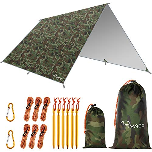 Ryaco Camping Zeltplane, 3m x 3m Tarp für Hängematte, wasserdicht Leicht Kompakt...
