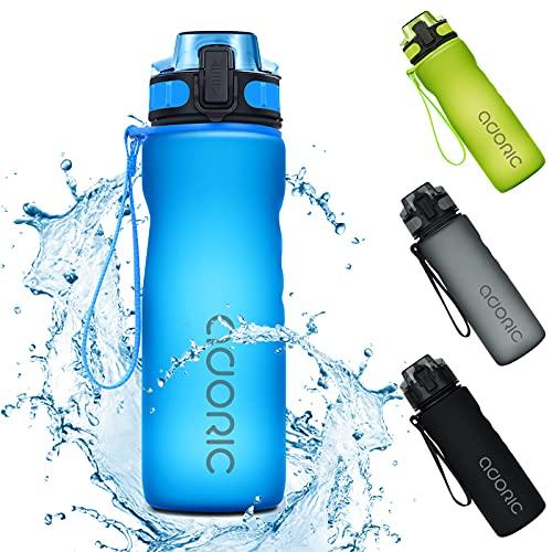 Adoric Sport Trinkflasche, [BPA Frei Tritan] 500ml/1L Auslaufsicher Kunststoff...
