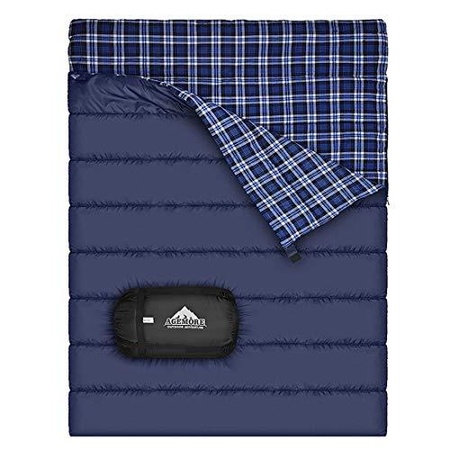 Baumwollflanell-Doppelschlafsack für Camping, Wandern oder Wandern. Queen Size 2 Person...