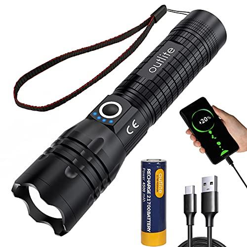 outlite Taschenlampe, Extrem Hell 10000 Lumen LED Taschenlampe Aufladbar USB mit...