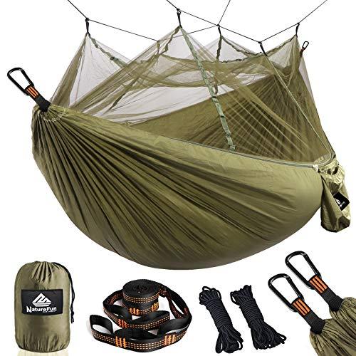 NatureFun Ultraleichte Moskito Netz Camping Hängematte 300kg Tragfähigkeit,(275 x 140...