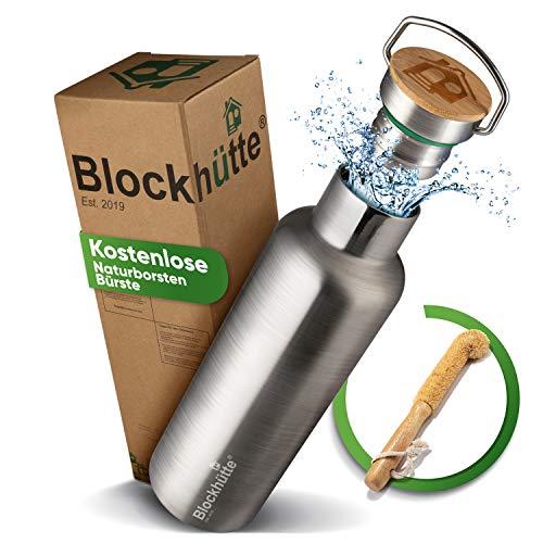 Blockhütte® Premium Edelstahl Trinkflasche isoliert mit [GRATIS Bürste] - Die...